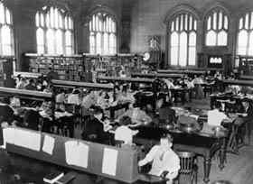 Reading Room of Fisher Library 1950s