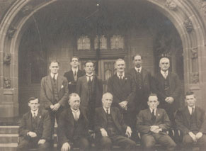 Library staff 1921 John Le Gay Brereton front row centre with Edward V Steel on his left