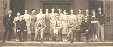 Library staff Henry M Green front row centre with Edward V Steel on his left