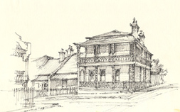 Allan Gamble sketch of Thomas Fisher's house, Clarence House, Alma Street